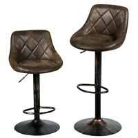 2-Set Swivel Bar Stools Home Kitchen Hot-stamping Cloth Adjustable Brown Chair