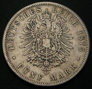 PRUSSIA (German State) 5 Mark 1875 B - Silver - Wilhelm I. - 581