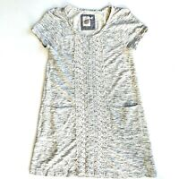 Anthropologie Lilka Tunic Top Short Sleeve Pocket Lace Detail Gray Size Small