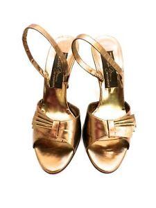 Vintage Womens Shoes Bronze Metallic Slingback Heel Sesto Meucci 6.5