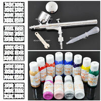 New Authentic Airbrush Painting Spray Gun Set & 12 Color Paint & Stencil #235