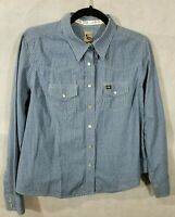 Cruel Girl Cowgirl Rodeo Western Pearl Snap Gray Plaid Shirt Sz L Blue & White