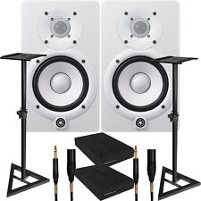 Yamaha HS5 White Studio Monitor Speaker Pair Bundle + Cables + Stands + Pads