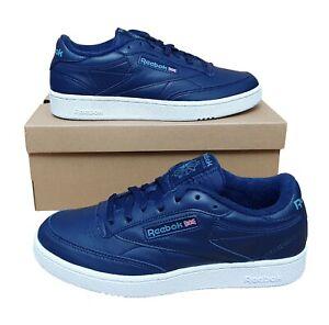 REEBOK Classic Mens Tennis Club C 85 MU Leather Lace Navy Blue White MRRP £74-95