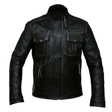 Men Biker Bomber Vintage Motorcycle Distressed Black Real Cowhide Leather  Jacket faec375cddc