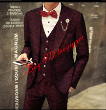 Men 3PC Printing Floral Coats&Pants Suits Wedding One Botton Slim Fit Stage Size