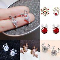 Crystal Christmas Snowflake Elk Earrings Ear Stud Women Girl Xmas Party Hot Gift