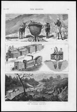 1878 - Antique Print SOUTH AFRICA Railway Pontoon Cart Pioneer Wagons   (066)