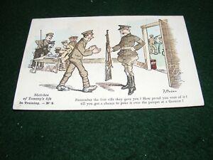 VINTAGE POSTCARD ART WW I F MACKAIN SKETCHES OF TOMMY'S LIFE TRAINING No 5 LITHO