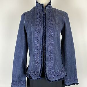 Grace Hill Women's Denim Lace Velvet Trim Cotton Blue Jacket Size 12 ~A16