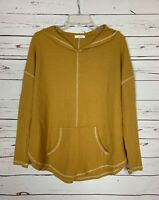 Boutique Cherish Women's M Medium Mustard Gold Pocket Hooded Waffle Top Shirt