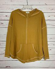 Cherish Boutique Women's M Medium Mustard Yellow Fall Pocket Hooded Top Shirt