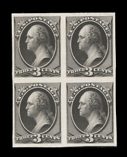 "158TC4 3¢ Washington ""Atlanta"" Black Trial Color Proof Block of 4, VERY RARE!"