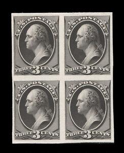 "158TC4 3¢ Washington ""Atlanta"" Black Trial Color Proof Block of 4, VERY RARE!"
