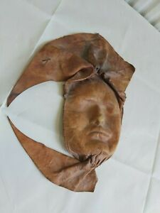 Leather Art Wall Hanging Moulded to Shape of Human Face S10