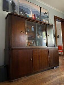 Mid Century Vintage Hutch German Shrunk Cabinet Bar Walnut Danish Cocktail Glass