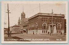 Davenport Iowa~Fourth Street Commercial Club~City Hall Clock~Court~c1910 RPPC