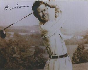 GOLF LEGEND BYRON NELSON SIGNED 8X10 HOF U.S. OPEN PGA MASTERS CHAMPION 53 WINS