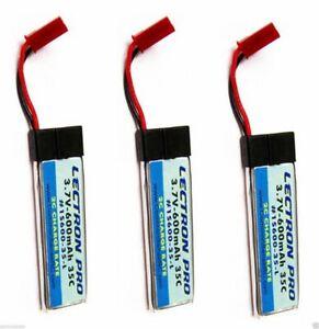 Neuf 3x Lectron Pro 3.7 Volt 600mAh 35C Lame Mqx 120SR Batterie Lipo