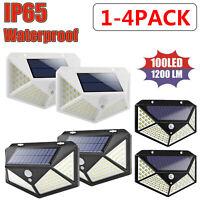 1-4 100LED Solar Power PIR Motion Sensor Wall Light Outdoor Garden Security Lamp