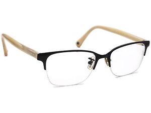Coach Eyeglasses HC 5047 Evie T 9160 Satin Black/Ivory Half Rim Frame 50-17 135