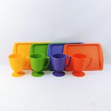 Snack Plate and Cup Set 8 Pieces Plastic Whirley Industries
