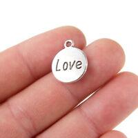 10PC Heart-Shaped Love Alloy Charm pendant Fashion DIY Necklace Bracelet Gift