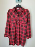 Umgee Women's Size Small Red Plaid Long Sleeve Frayed Hem Tunic Top