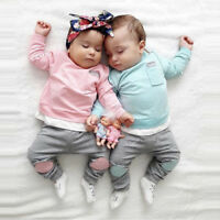 Autumn born Infant Baby Boy Girl T shirt Tops+Pants 2PCS Outfits Clothes Set US