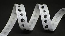 Grosgrain Paw Print Ribbon 16mm in 2m cut lengths - free postage