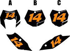 2012-2013 KTM 500EXC Custom Pre-Printed Black Backgrounds with Orange Numbers