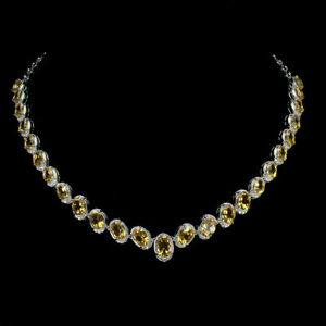 Necklace Golden Citrine Genuine Gems Solid Sterling Silver 17 1/2 to 19 1/2 Inch