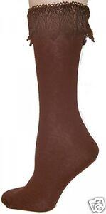 Foot Traffic Lace Trim Anklet Dark Chocolate Brown Women's Crew Socks New