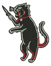 SwItChBlAdE DaGGeR BlAcK AlleY CaT IrOn On PaTcH Knife HoRrOr  GoThIc PuNk mma