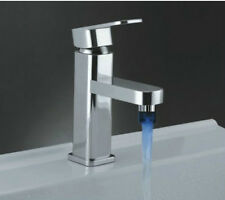 LED Color Basin Faucet Waterfall Sink Deck Mounted Chrome Brass Mixer Tap