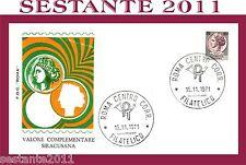 ITALIA FDC ROMA, VALORE COMPLEMENTARE SIRACUSANA 180 L. 1971, ANNULLO ROMA   A38