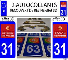 2/ STICKERS RECOUVERT DE RESINE PLAQUE IMMATRICULATION DEPARTEMENT HAUTE GARONNE