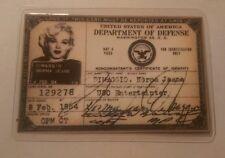 Marilyn monroe 1954 USO Id card