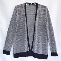 VERVE AMI Black White Herringbone Open Cardigan Sweater Size Medium