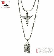 "Men's Silver Plated Angel & Jesus 22""/27"" Combo Pendant Necklace MHC 207 S"