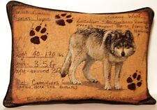 Grey Wolf w/ Paw Print, Height, Weight, Diet & More Tapestry Pillow New
