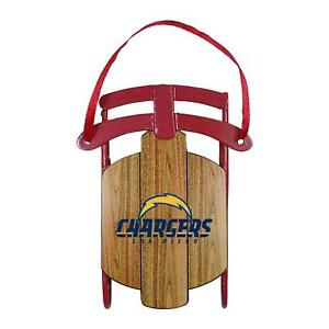 San Diego (L.A.) Chargers Metal + Wood Grain Sled Christmas Tree Ornament - NEW!