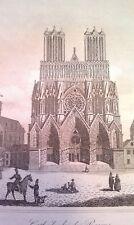 Gravure lithographie XIX ème Cathédrale de Reims publié par Blaisot