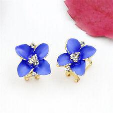 Vintage Ladies Girls Enamel Flower Earrings Crystal Rhinestone Ear Studs Jewelry