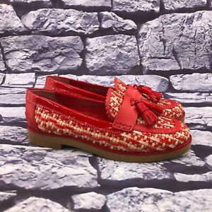 Tory Burch Careen Red Woven Leather Raffia Tassels Loafers Size 7.5 M