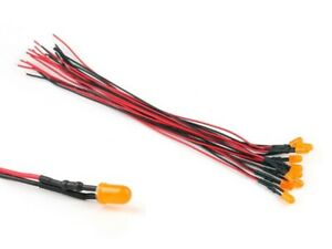 S617-10 Stück LED 1,8mm orange diffus mit Kabel 12-19V verkabelte Mini LEDs