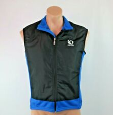 Pearl Izumi Men's Medium Cycling Vest Blue Black Fleece Nylon Zip Up EUC