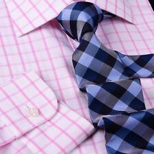Mens Pink Plaids & Checks Formal Business Dress Shirt Lightweight Easy Iron Top
