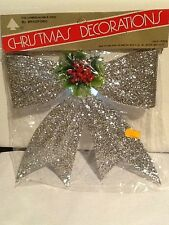 VINTAGE BRADFORD SILVER GLITTER HOLLYBERRY BOW HANGING CHRISTMAS DECORATION NOS