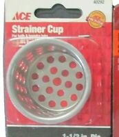 "Lot of 4 Ace #40292 Chrome Metal Crumb Cup Basket Strainer Cup 1-1/2"" O.D."